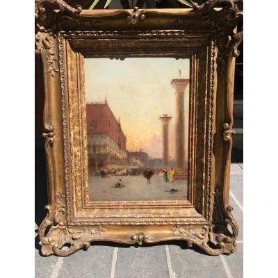 Table Oil On Canvas View Of Venice Signed Henri Duvieux XIXth Century On Panel.