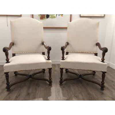 Pair Of Louis XIV Walnut Armchairs: XIXth Epoque (1850-1880)