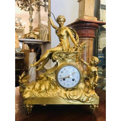 Gilt Bronze Clock Representing The
