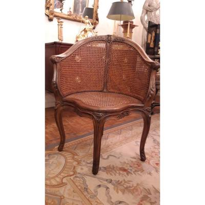 Office Cane Armchair, XIXth Epoque In Walnut Decorated With Carved Flowers.