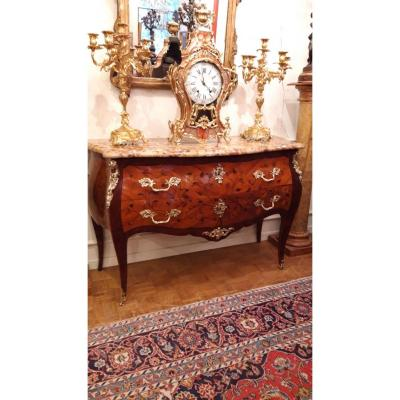 Large Chest Of Drawers Curved On Three Sides In Marquetry With 2 Drawers. XIXth Louis XV Style Period