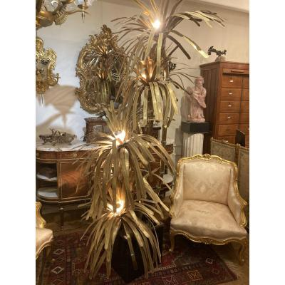 Exceptional Palmier Floor Lamp By Jansen With 5 Brass Light Heads. Height 2.60 M