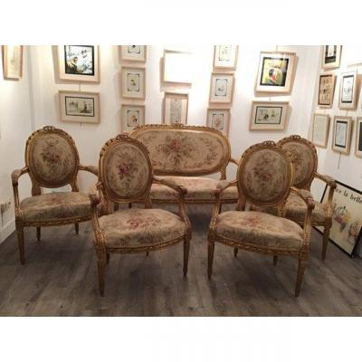 Louis XVI Napoleon III Living Room Gilded Wood Composed Of 4 Armchairs + 1 Sofa. Aubusson Tapestry