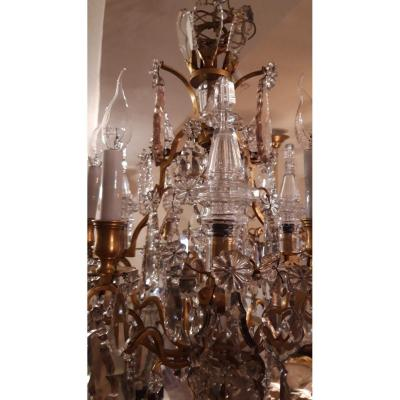 Louis XV Cage Chandelier In Gilt Bronze With 10 Lights In Bohemian Crystal. Early 20th Century.