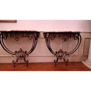 Paires de consoles Louis XV en fer forgé. Epoque XIXème siècle
