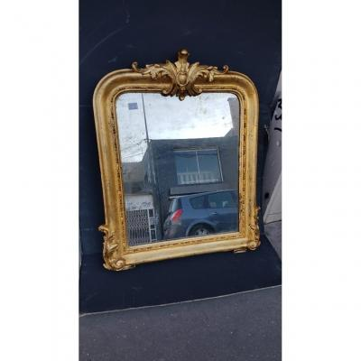 Louis-philippe Périod Mirror In Carved Wood And Stuc With Silver