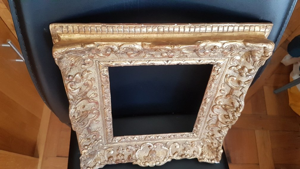 Louis XIV Period Frame In Carved And Golden Oak-photo-3