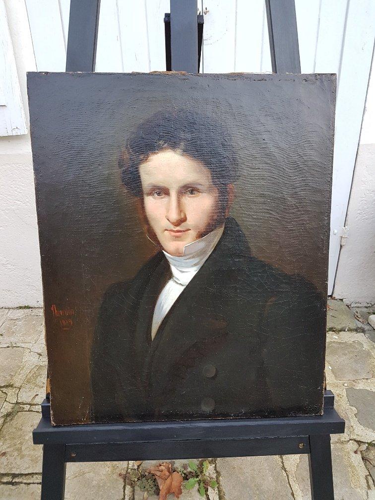 Portrait De Jeune Homme En Redingote Par Claude Noel Thevenin Daté 1829
