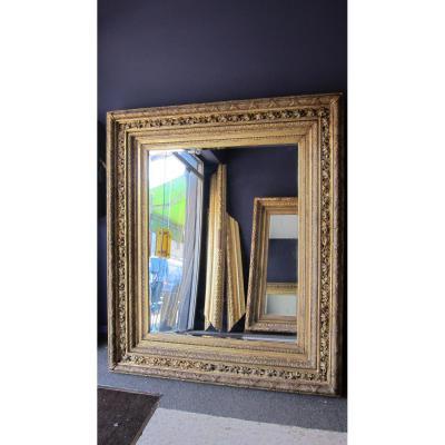Grand Et Rare Miroir Dore Du 19ème Siecle