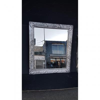 Petit Miroir En Bois Et Stuc Argenté De Style Louis XV
