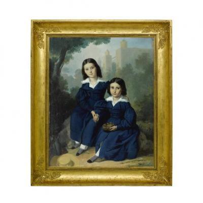 Portrait De Deux Fillettes Daté 1841