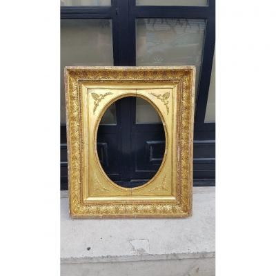 Oval Empire Frame In Wood And Golden Stucco