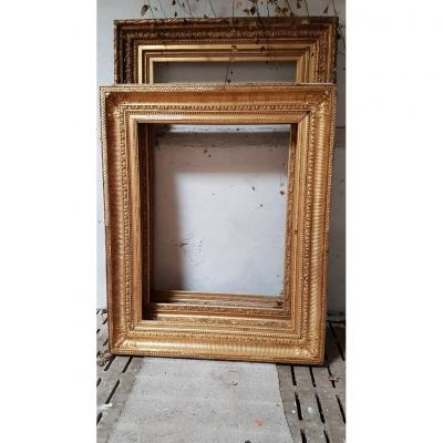 """grand cadre doré de style Louis XVI dit """" à canaux """" vers 1870"""