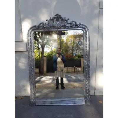 Large Louis Philippe Style Silver Mirror