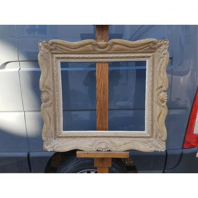 1940s Frame In Carved And Patinated Wood Signed G; Mouth