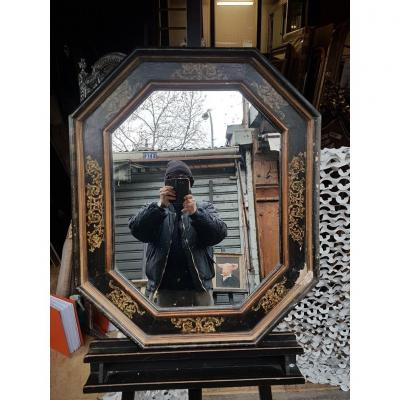 Italian Style Mirror, Black And Gold (82 Cm X 69 Cm)
