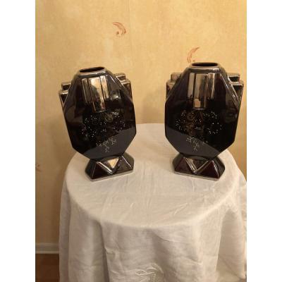 Paire De Vases Art Déco.