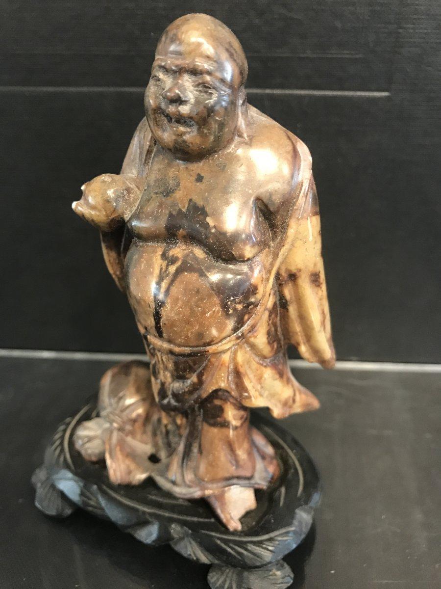 Bouddha Rieur En Pierre Minérale