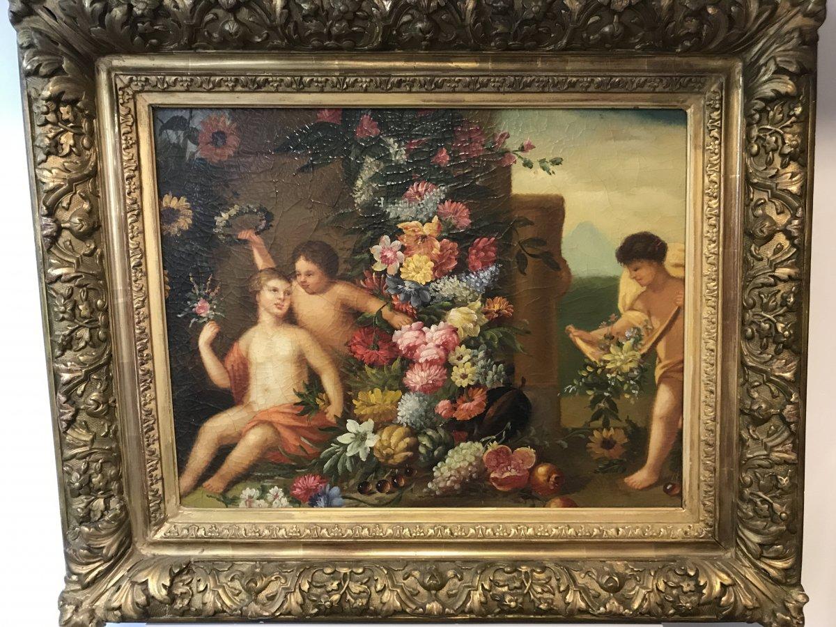 Tableau Putti aux fleurs/ huile sur toile -photo-2