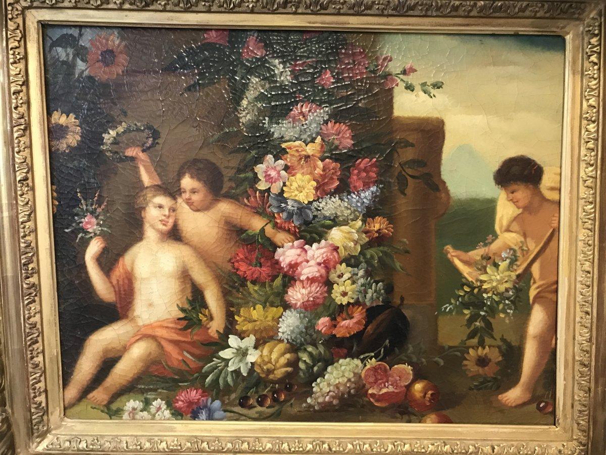 Tableau Putti aux fleurs/ huile sur toile -photo-3