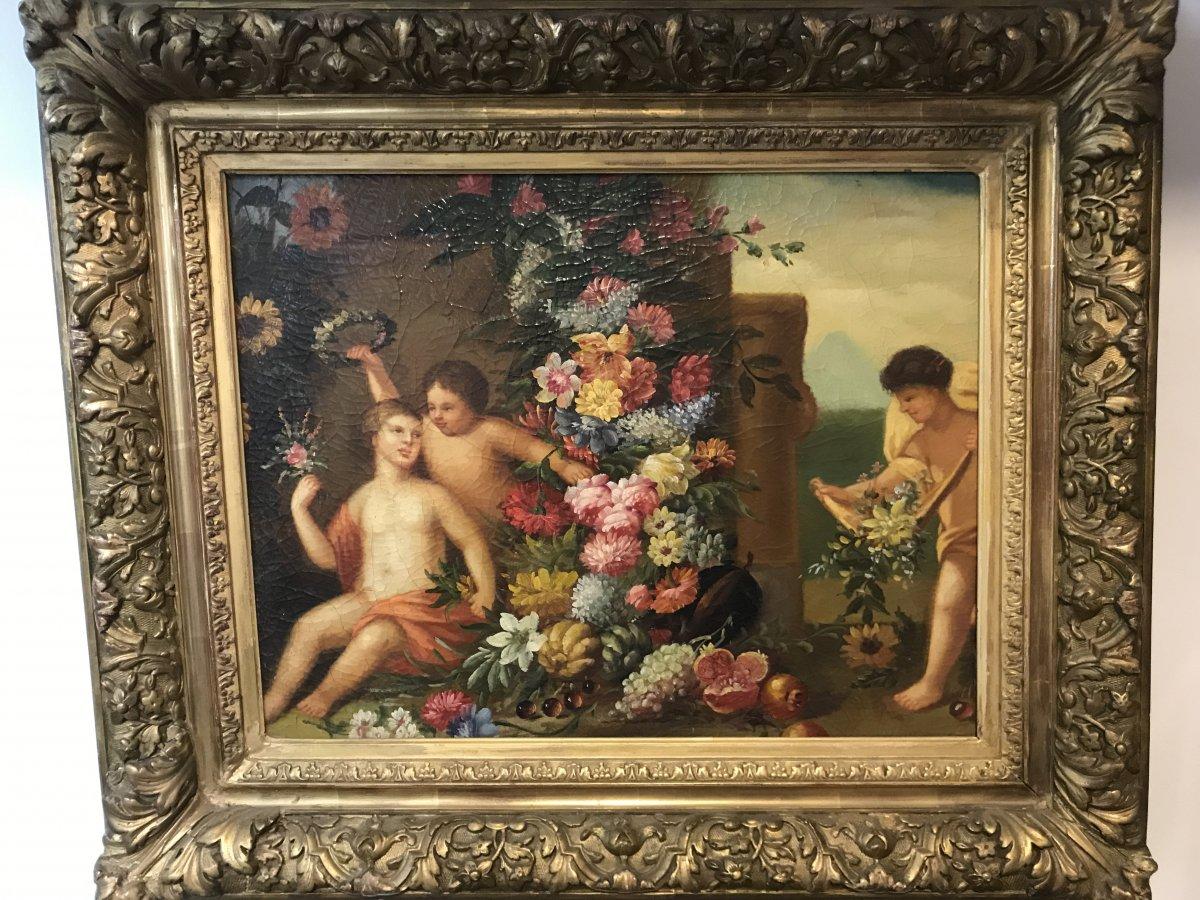 Tableau Putti aux fleurs/ huile sur toile