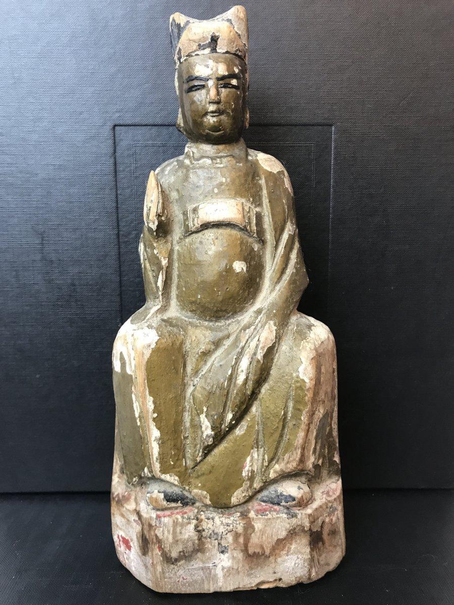 Polychrome Wood Buddha Qing Period