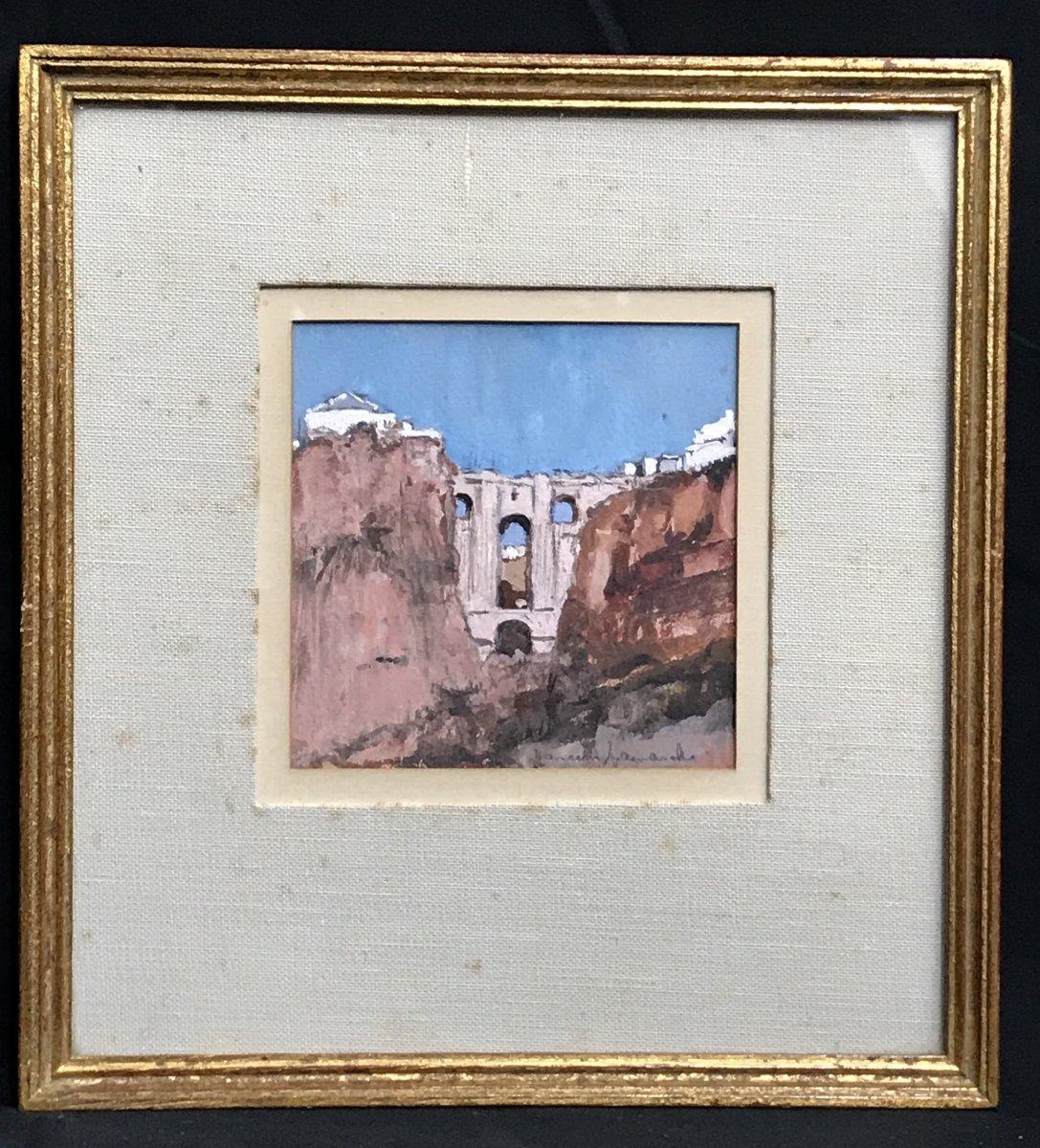 Peinture Sur Papier Le Pont de Ronda Andalousie années 50/60