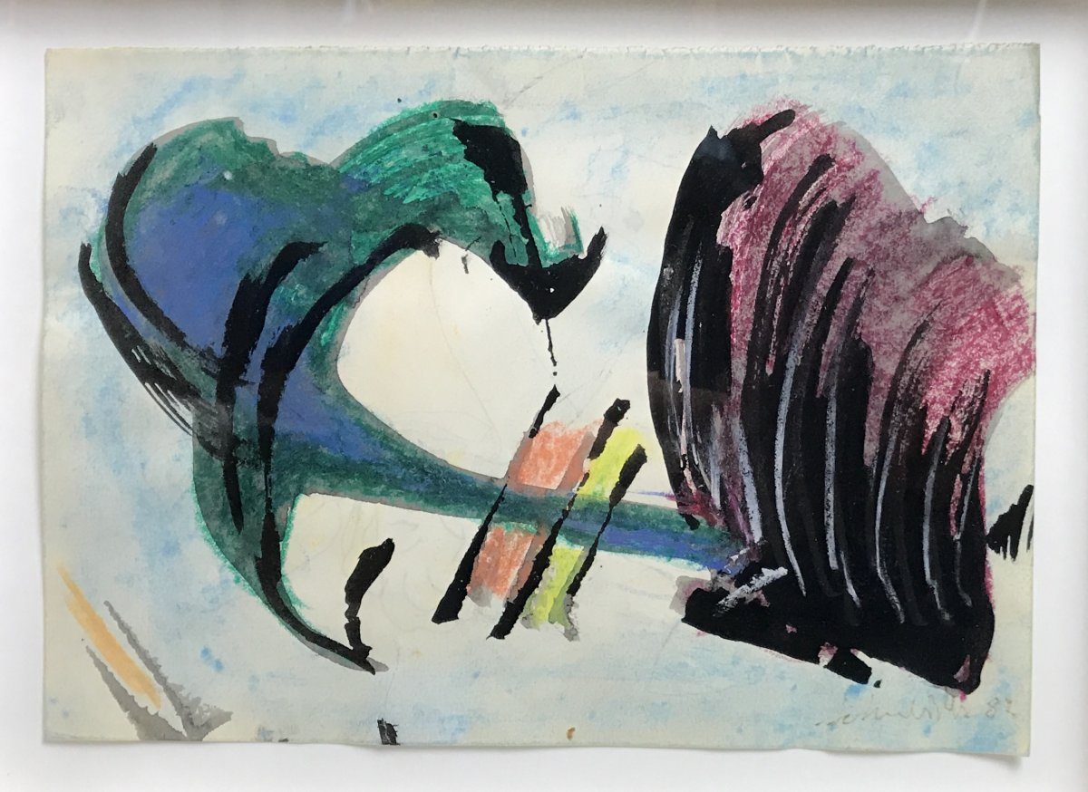 Abstract Painting On Paper By Gérard Ernest Schneider