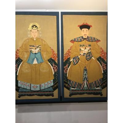 Paire De Portraits Chinois/ Avant 1911