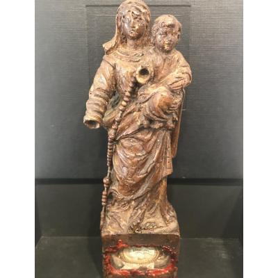 Vierge à l'Enfant En Bois XVIII Eme