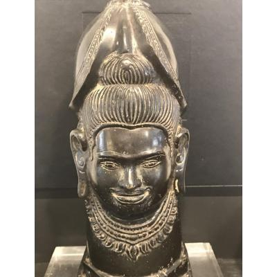 Bronze Head Topped With A Helmet