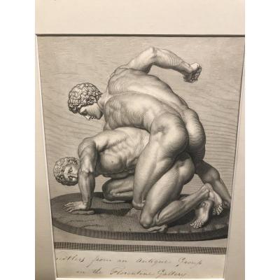 Gravure Représentant 2 Lutteurs à l'Antique/ XIX Eme
