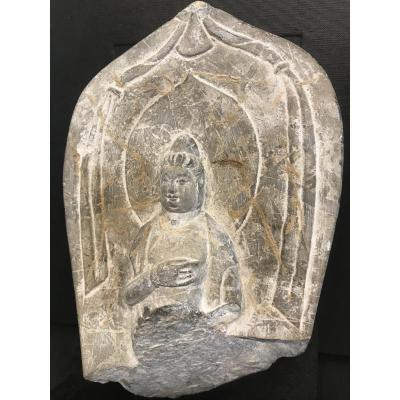 Bouddha En Pierre/ Fragment Avant XVII Eme