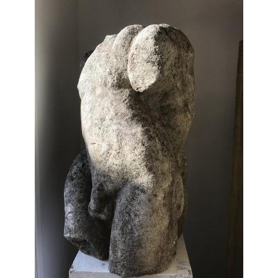 Imposante Sculpture En Pierre à l'Antique  Représentant 2 Hommes