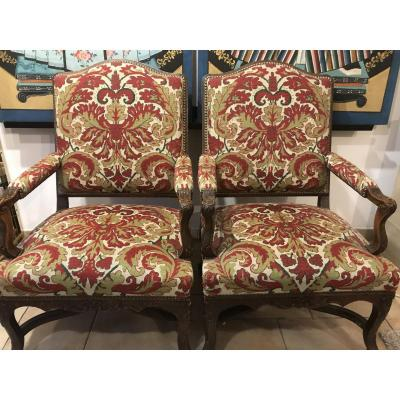 Pair Of Louis XIV Regency Armchairs With Spacers
