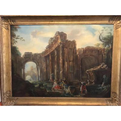 Huile sur toile/ les ruines fantastiques