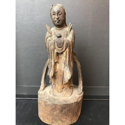 Taoist Statuette Asia In Wood XIX Eme