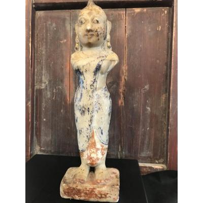 Statuette En Marbre Polychrome Asie Antérieure Au XIX Eme