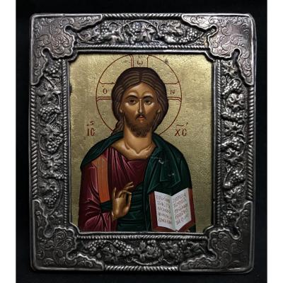 Icône Russe Du Christ Pantocrator