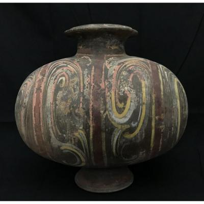 Chinese Terracotta Cocoon Vase Han Period