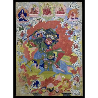 Peinture Sur Toile Tibétaine XIX Eme