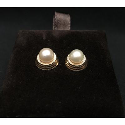 Pair Of Gold Stud Earrings And Art Deco Pearls
