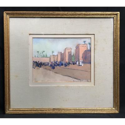 Peinture Sur Papier Remparts Afrique Du Nord Année 50/60