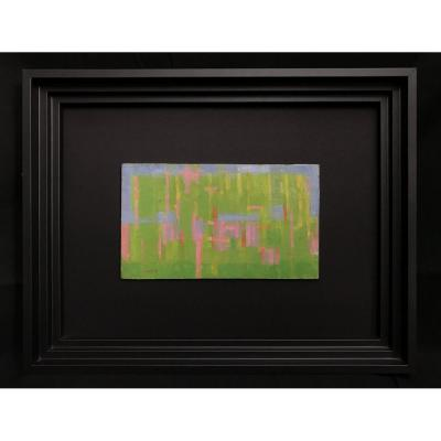 Green Abstract Painting By Painter Daniel Ravel (1915-2002)