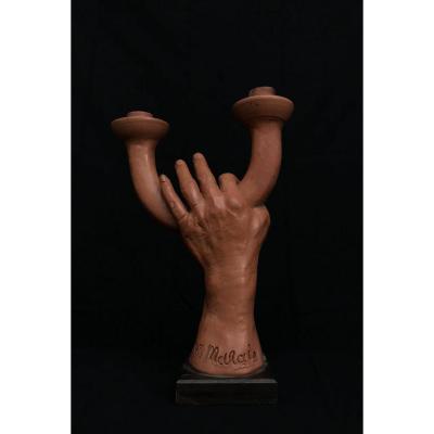 Sculpture Terre Cuite Main De Jean Marais (1913-1998) Artiste Français