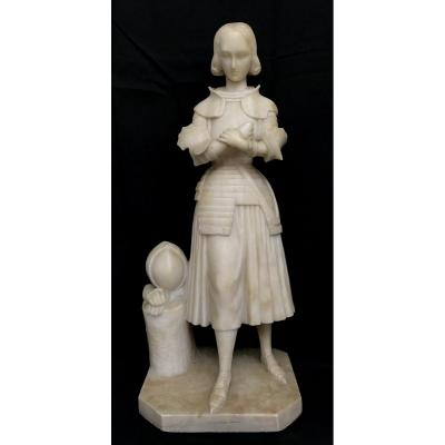 Statue Of Joan Of Arc In Marble / Alabaster XIX Eme