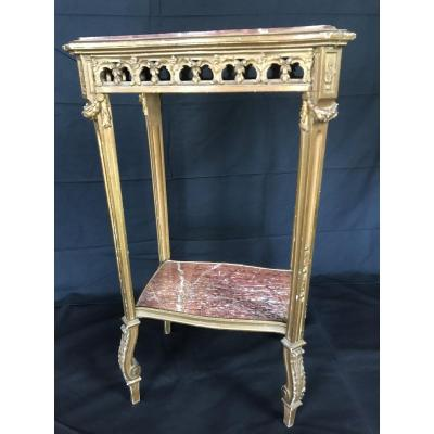 Healing In Golden Wood And Marble Top Louis XVI Style