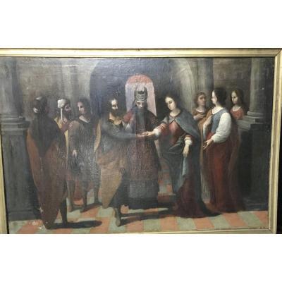 Importante Peinture XVII Eme Le Mariage De Marie