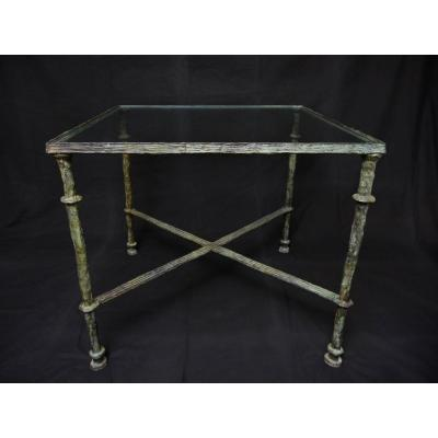 Square Table In Bronze With Green Patina Shaded In The Taste Of Diego Giacometti