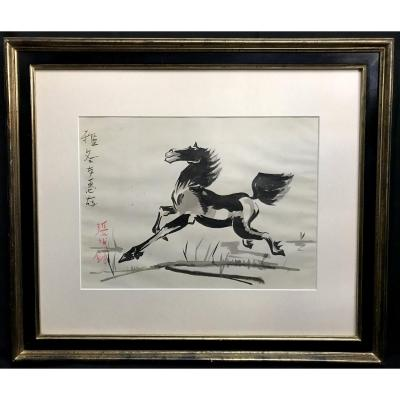 Peinture Cheval Encre De Chine XX Eme